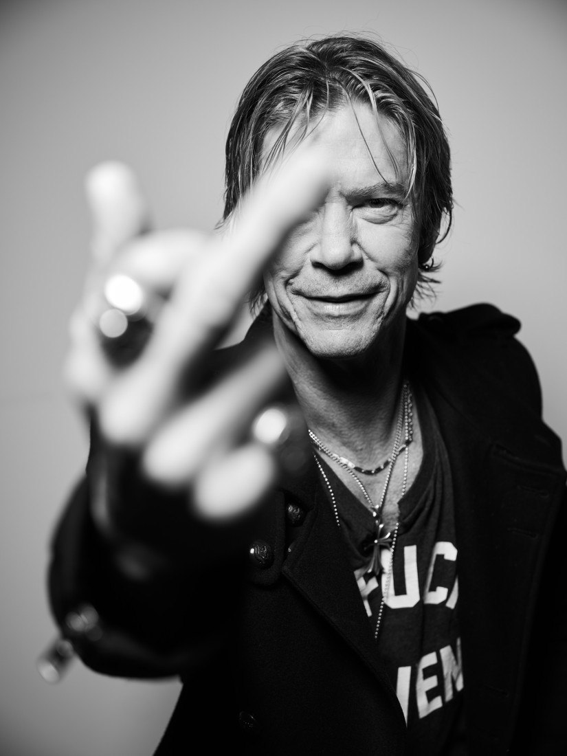 Rock and Roll legend Duff McKagan swearing at the camera