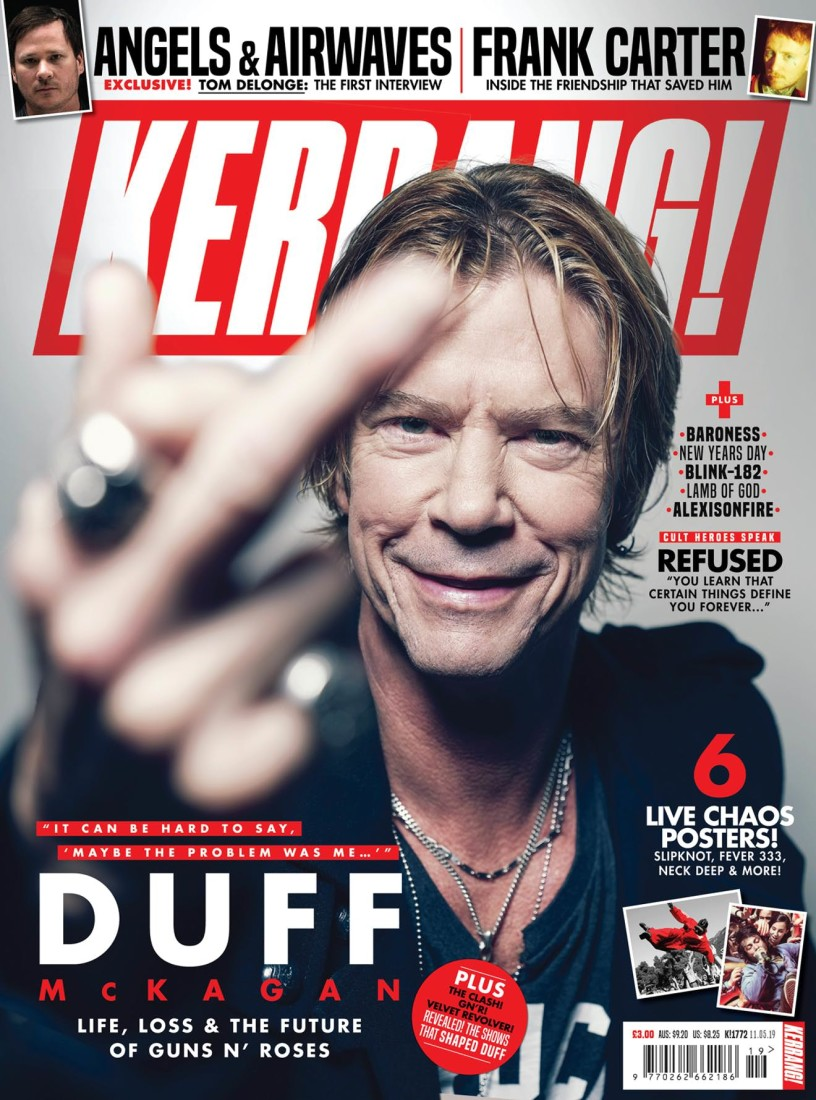 Duff Mckagan swearing on the front cover of Kerrang! Magazine