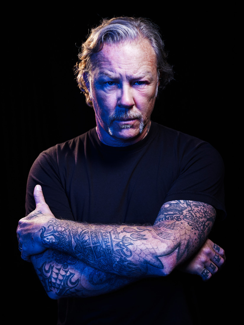 James Hetfield of Metallica with his arms crossed