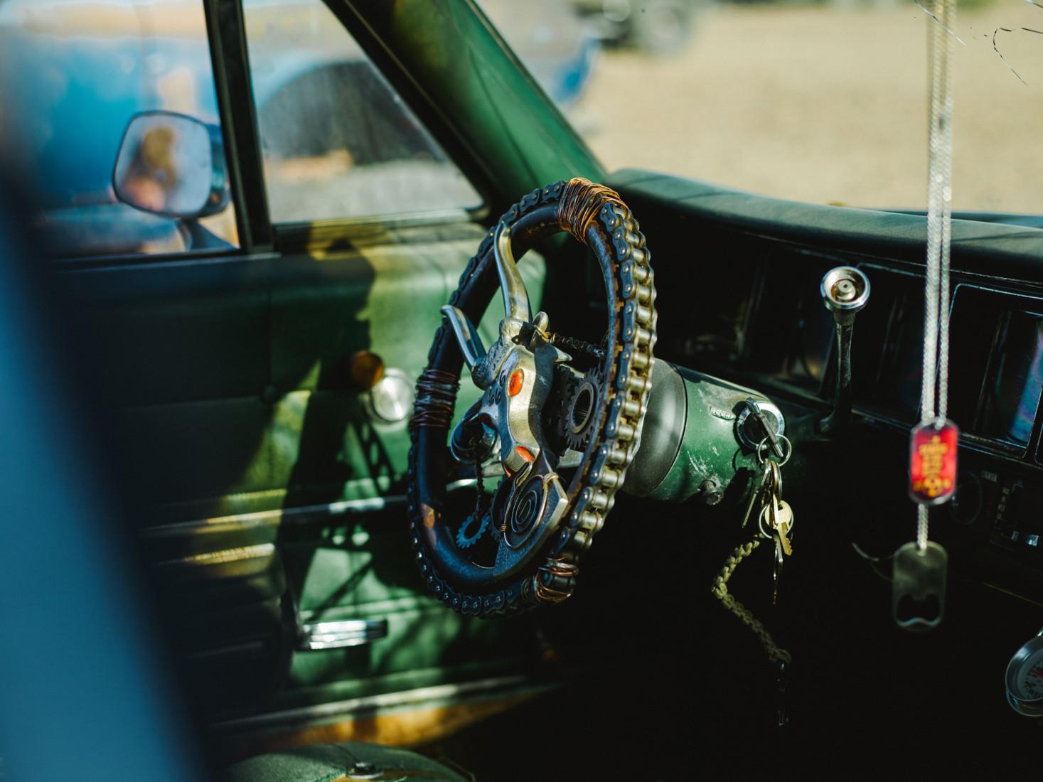 Steering wheel decorated in skulls at Wasteland Weekend festival